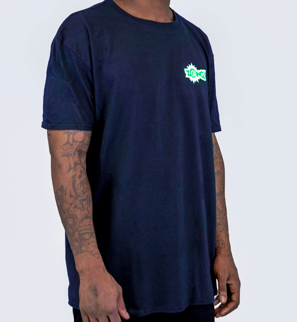 "Zong T Shirt Front Facing From Left Standing ""Zong"" - Black with Green and white lettering"