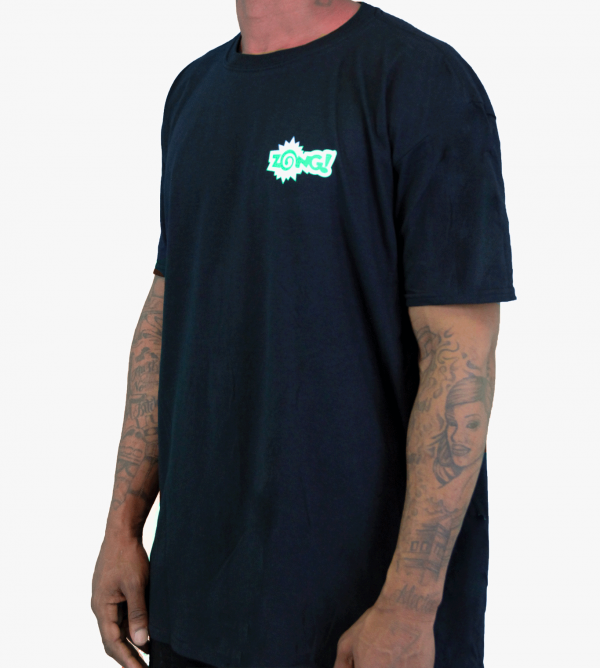 "Zong T Shirt Front Facing From Right Standing ""Zong"" - Black with Green and white lettering"